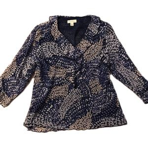 Women's Blouse - Navy Blue and Tan - XL